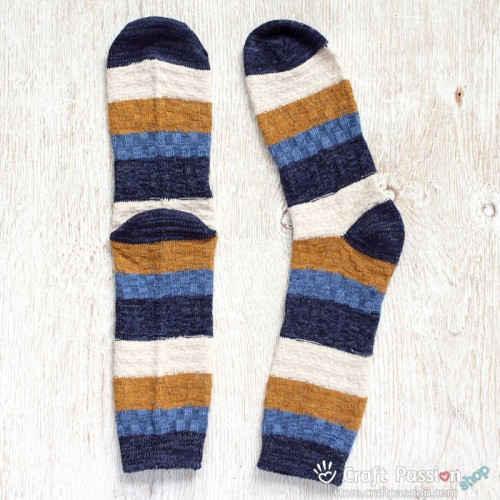 Knitting Pattern For Cotton Socks : Wide Stripe Knitted Cotton Socks