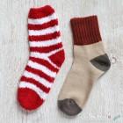 Chenille Microfiber Socks Set - Red White Stripes