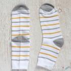 Stripes Cotton Socks - White, Gray, Yellow Stripes