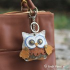 Olivia Owl Leather Charm with Keyring and Hook - Large