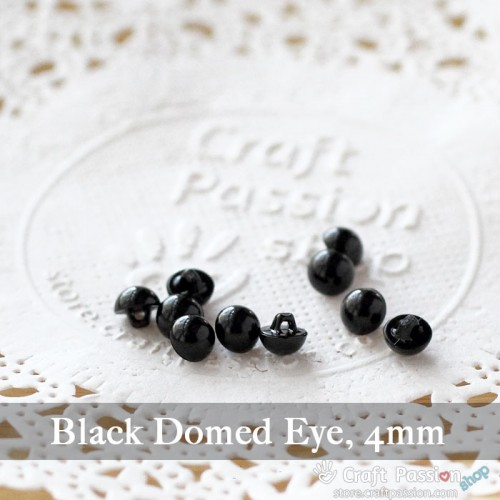 Black Domed Eye, 1 pack - 4mm, 6mm, 8mm, 10mm