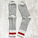 Grey White Red Wool Socks