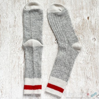 Grey White Red Wool Socks