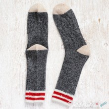 Dark Grey White Red Wool Socks