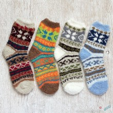 Ethnic Chenille Microfiber Socks Set - 4 Colors