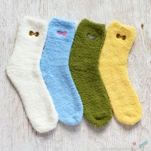 Plain Chenille Microfiber Socks Set - 4 Colors