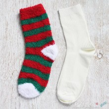 Chenille Microfiber Socks Set - Red Green Stripes