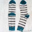 Stripes Cotton Socks, Grey White Teal Stripes