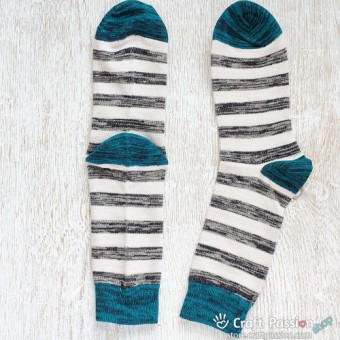Stripes Cotton Socks, Grey White Teal Stripes