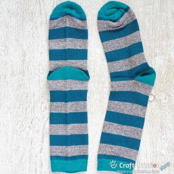 Stripes Cotton Socks, Gray Teal Stripes