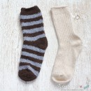 Chenille Microfiber Socks Set - Brown / Gray Stripes