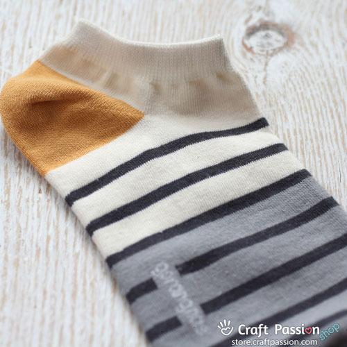 Stripes Ankle Socks - Yellow, Brown