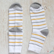 Stripes Cotton Socks - White, Gray, Yellow Stripes
