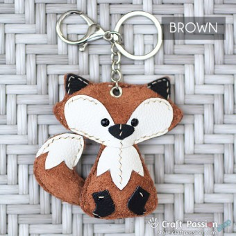 Freddy Fox Leather Charm with Keyring and Hook - Large