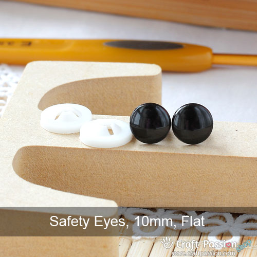 Safety Eye (Flat, Black), 5 pairs - 8mm, 10mm, 12mm