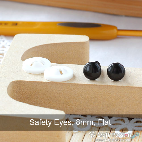 Safety Eye (Flat, Black), 5 pairs - 6mm, 8mm, 10mm, 12mm