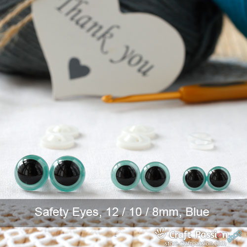 Safety Eye (Colored Iris), 2 pairs - 8mm, 10mm, 12mm