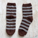 Chenille Microfiber Socks - Stripes - Brown / Light Gray