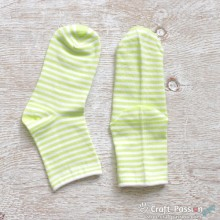 Stripes Cotton Socks - Lemon Green & White Stripes